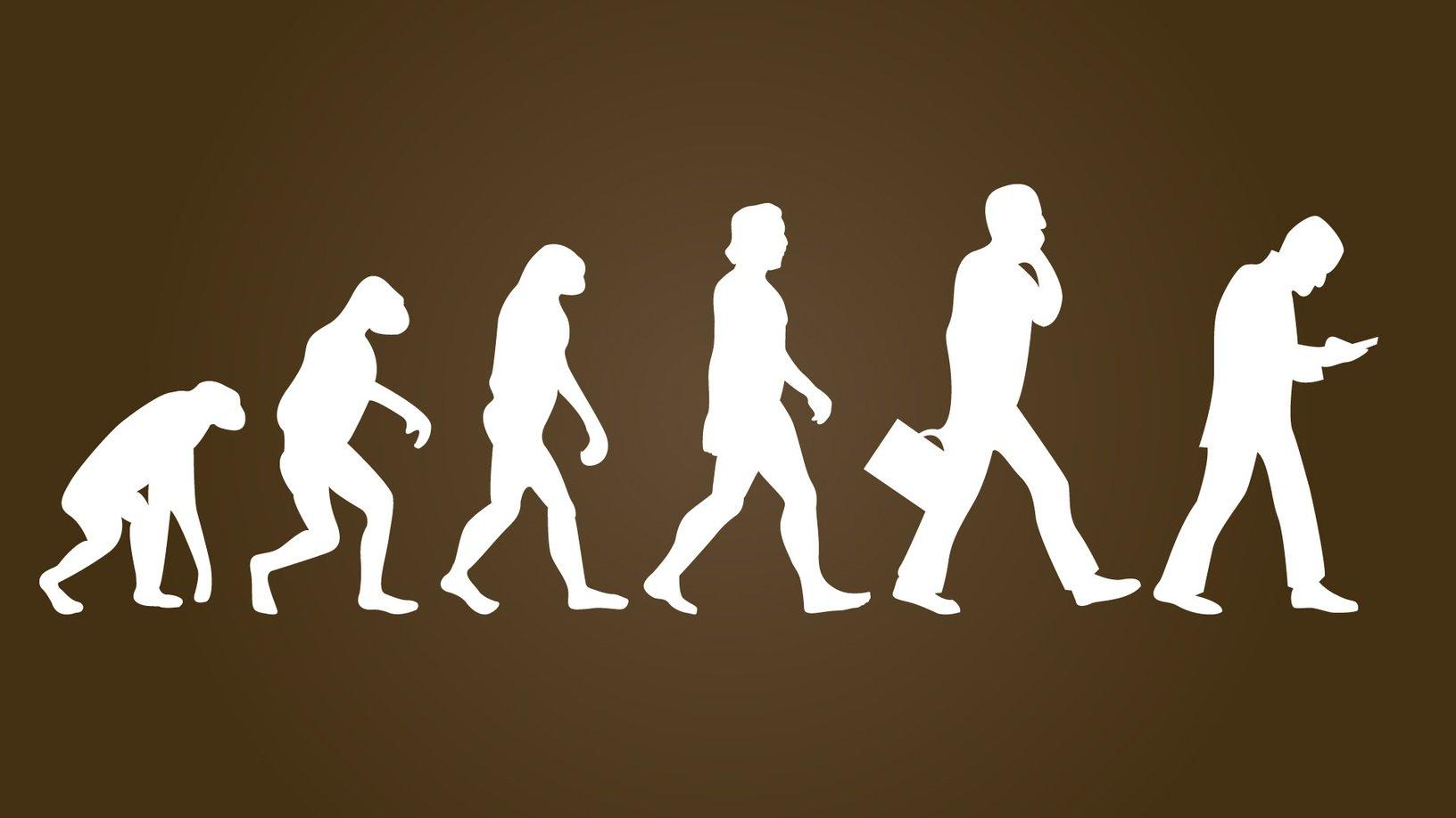 маленькая картинка про эволюцию человека целом, силуэт