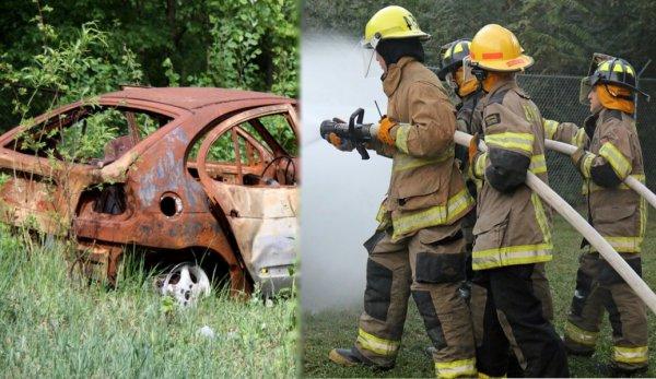 Ночью на востоке Петербурга сгорели легковое авто и стена гаража