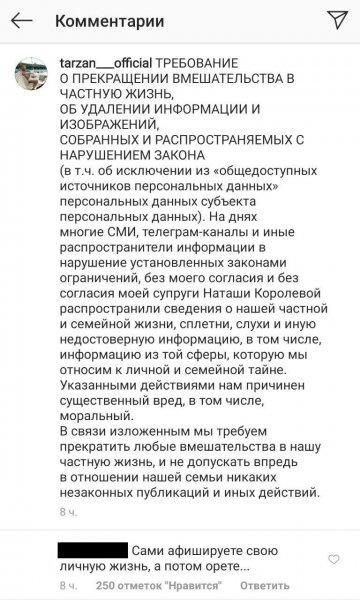 Тарзан обратился к средствам массовой информации со страниц своего блога